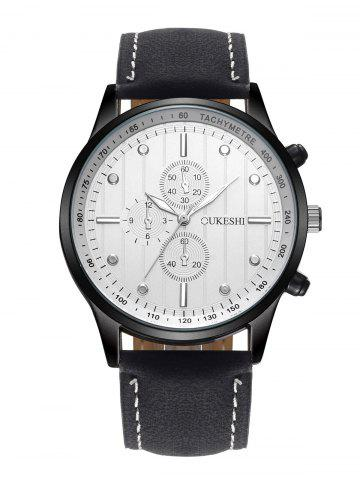Outfits Faux Leather Strap Number Quartz Wrist Watch WHITE/BLACK