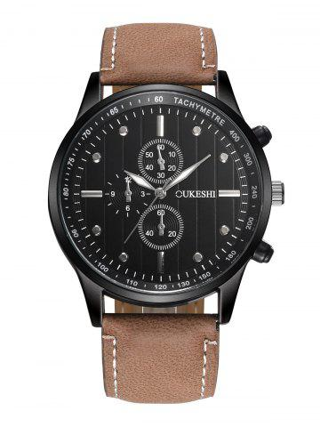 New Faux Leather Strap Number Quartz Wrist Watch BLACK AND BROWN
