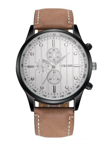 Fashion Faux Leather Strap Number Quartz Wrist Watch WHITE/BROWN