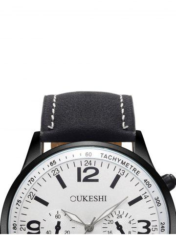 Outfits Faux Leather Strap Quartz Wrist Watch - WHITE AND BLACK  Mobile