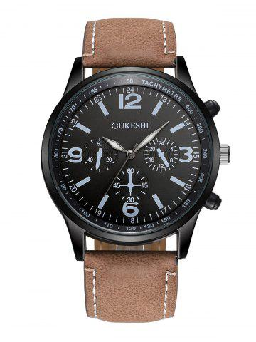 Chic Faux Leather Strap Quartz Wrist Watch BLACK/BROWN