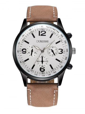 Latest Faux Leather Strap Quartz Wrist Watch - WHITE AND BROWN  Mobile