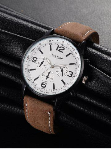 Outfits Faux Leather Strap Quartz Wrist Watch - WHITE AND BROWN  Mobile