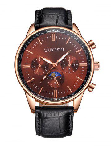 Fashion Faux Leather Strap Quartz Watch RED WITH BLACK