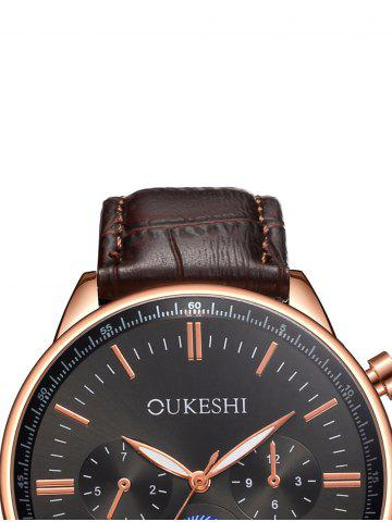 Buy Faux Leather Strap Quartz Watch - BLACK AND BROWN  Mobile