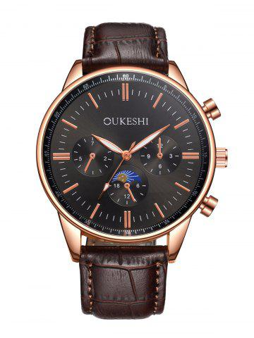 Sale Faux Leather Strap Quartz Watch - BLACK AND BROWN  Mobile
