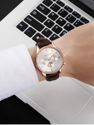 Discount Faux Leather Strap Quartz Watch - WHITE AND BROWN  Mobile