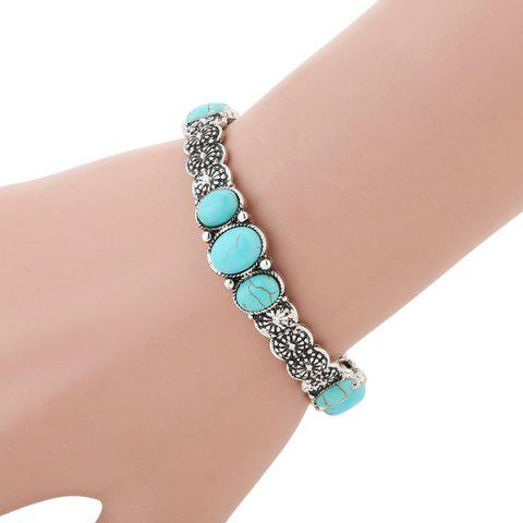 Best Faux Turquoise Floral Gypsy Bracelet - SILVER  Mobile