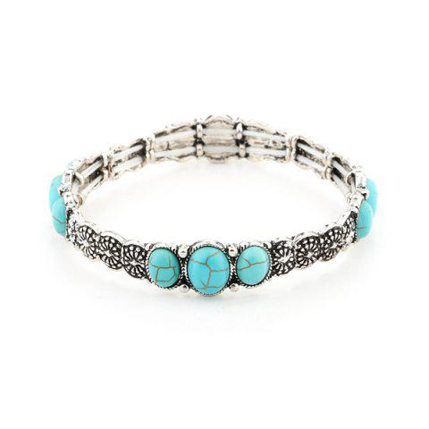 Hot Faux Turquoise Floral Gypsy Bracelet - SILVER  Mobile