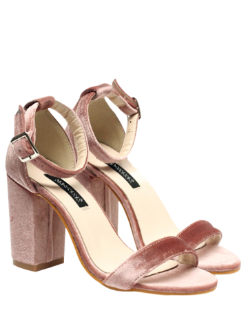 Hot Velvet Block Heel Sandals PINK 38