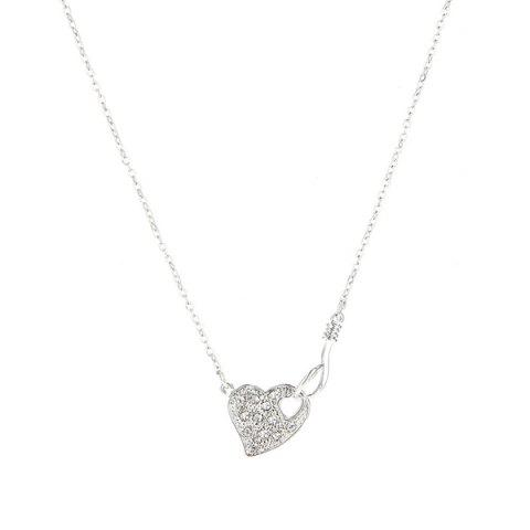 Heart Shape Link Chain Necklace - Silver