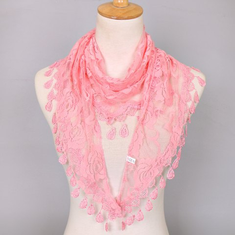 Waterdrop Embroidery Tassel Pendant Lace Triangle Rose Scarf - Pink