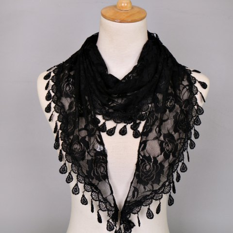 Best Waterdrop Embroidery Tassel Pendant Lace Triangle Rose Scarf