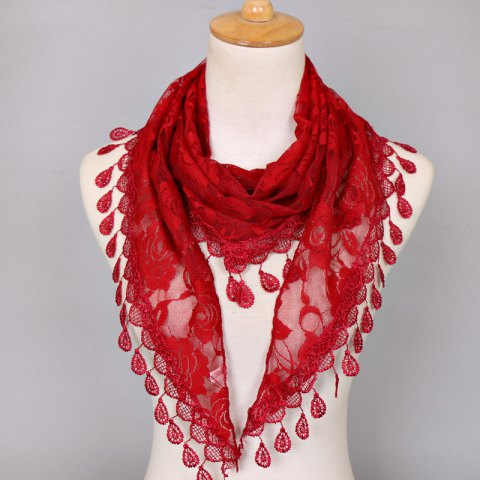 Waterdrop Embroidery Tassel Pendant Lace Triangle Rose Scarf - Wine Red
