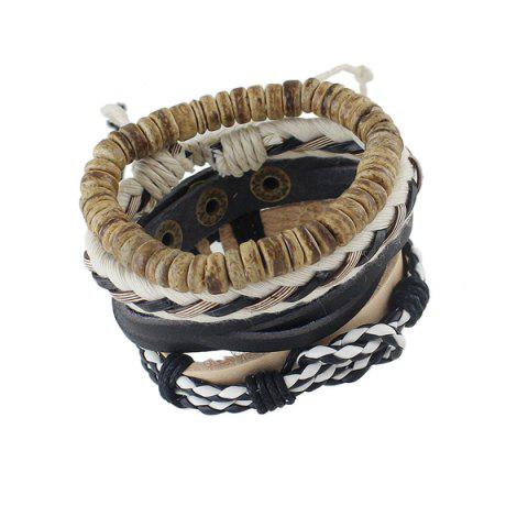 Outfits Artificial Leather Layered Braid Boho Bracelet - MULTICOLOR  Mobile