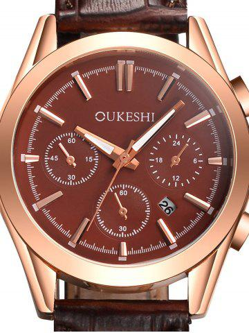 Store Faux Leather Strap Date Quartz Wrist Watch - BROWN  Mobile