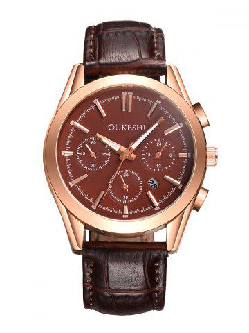 Outfits Faux Leather Strap Date Quartz Wrist Watch - BROWN  Mobile