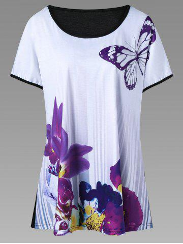 Butterfly and Floral Casual Plus Size T-Shirt - Purple - 2xl