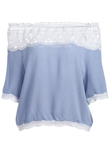 Best Off The Shoulder Lace Trim Chiffon Blouse LIGHT BLUE L