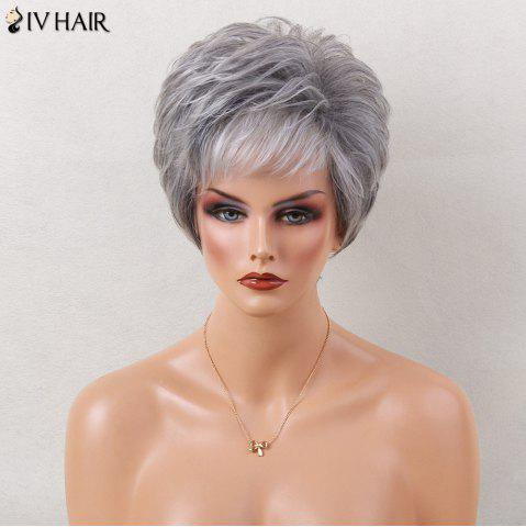 Hot Siv Hair Short Layered Side Bang Slightly Curled Colormix Human Hair Wig GREY AND WHITE