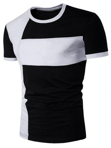 Color Block Cross Panel Short Sleeve T-Shirt - BLACK 2XL