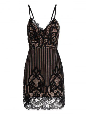 Unique Eyelash Lace Mini Backless Cami Dress BLACK L