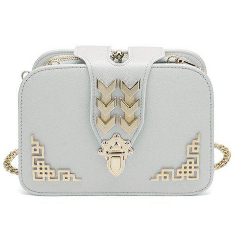 Discount Metal Embellished Cross Body Bag - WHITE  Mobile