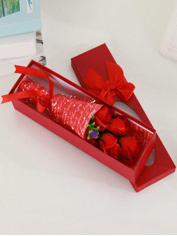 New 5 Pcs Creative Handmade Soap Roses Mother's Day Gift Artificial Flower - RED  Mobile