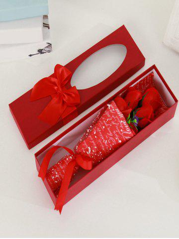 Fashion 5 Pcs Creative Handmade Soap Roses Mother's Day Gift Artificial Flower - RED  Mobile