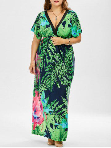 Chic Tropical Print Plus Size Floor Length Dress GREEN 3XL