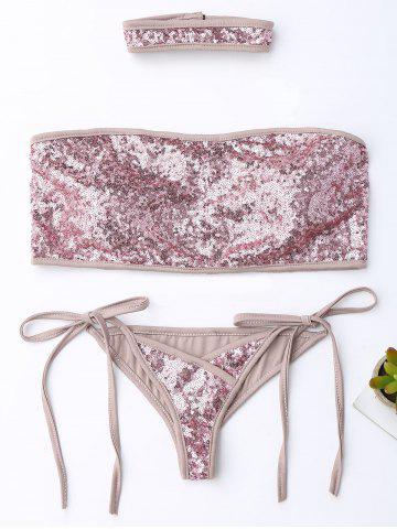 Sequins String Strapless Bandeau Bikini with Choker - Sequin Pink - S