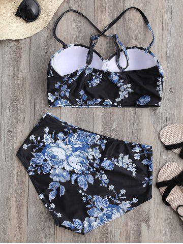 Affordable Floral High Waist Underwire Bikini Swimsuit with Push Up Bra - L BLACK Mobile