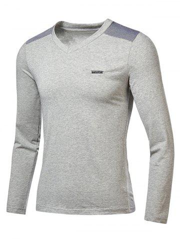 Cheap Stripe Trim V Neck Long Sleeve T-Shirt - GRAY 2XL Mobile
