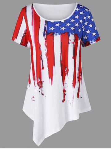 Fancy Distressed American Flag Painting Asymmetric T-Shirt WHITE 2XL