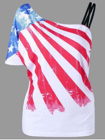 Skew Collar American Flag Print T-Shirt - White - 2xl