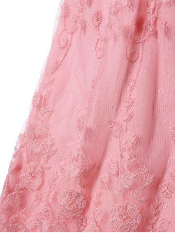 Outfit Lace Trim Empire Waist Scalloped Edge Tank Top - XL PINK Mobile