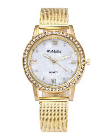 Roman Numeral Rhinestone Alloy Strap Quartz Watch - Golden
