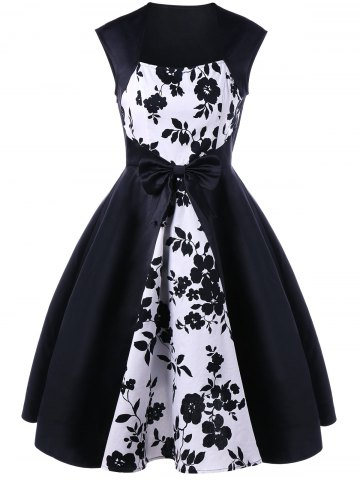 Best Bowknot Decorated Floral 50s Swing Dress