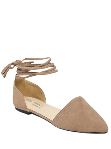 Cheap Flock Tie Up Pointed Toe Flat Shoes