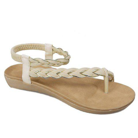 Chic Weaving Elastic Band Sandals OFF WHITE 39