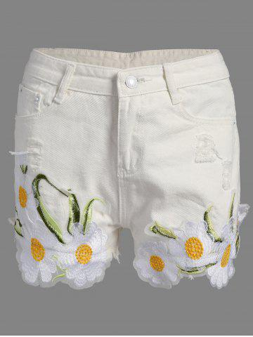 Trendy Floral Embroidered Frayed Denim High Rise Shorts WHITE XL
