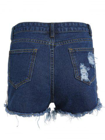 New Floral Embroidered Frayed Denim High Rise Shorts - L DEEP BLUE Mobile