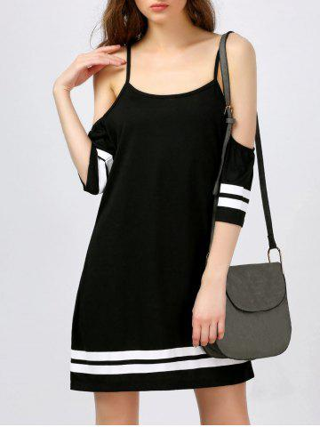 Trendy Spaghetti Strap Mini Cold Shoulder Dress BLACK M