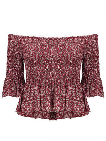 Off The Shoulder Ruffle Blouse - Red - L