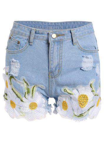 Floral Embroidered Frayed Denim High Rise Shorts - Light Blue - S