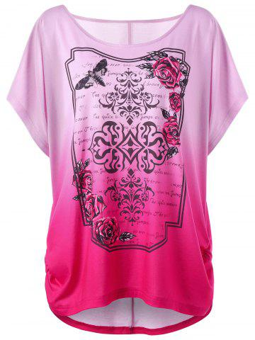 Store Rose Print Ombre Plus Size Tunic Top SANGRIA XL
