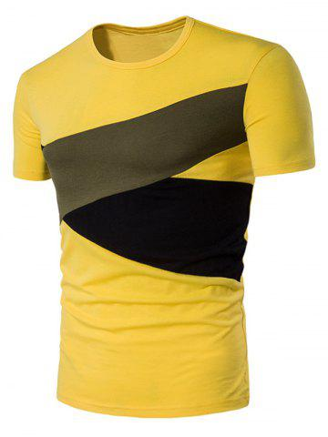 Short Sleeve Irregular Color Block Panel T-Shirt - Yellow - Xl