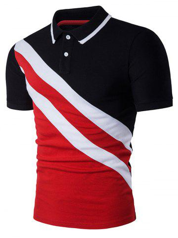 Fancy Color Block Oblique Stripe Panel Polo T-Shirt BLACK M