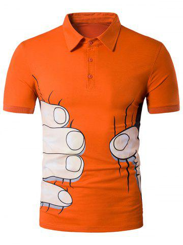 Cartoon Fingers Print Novelty Polo T-Shirt - Orange - 2xl