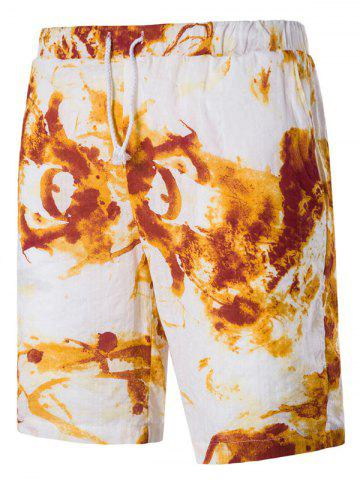 Fashion Blends Tie Dye Print Drawstring Linen Board Shorts